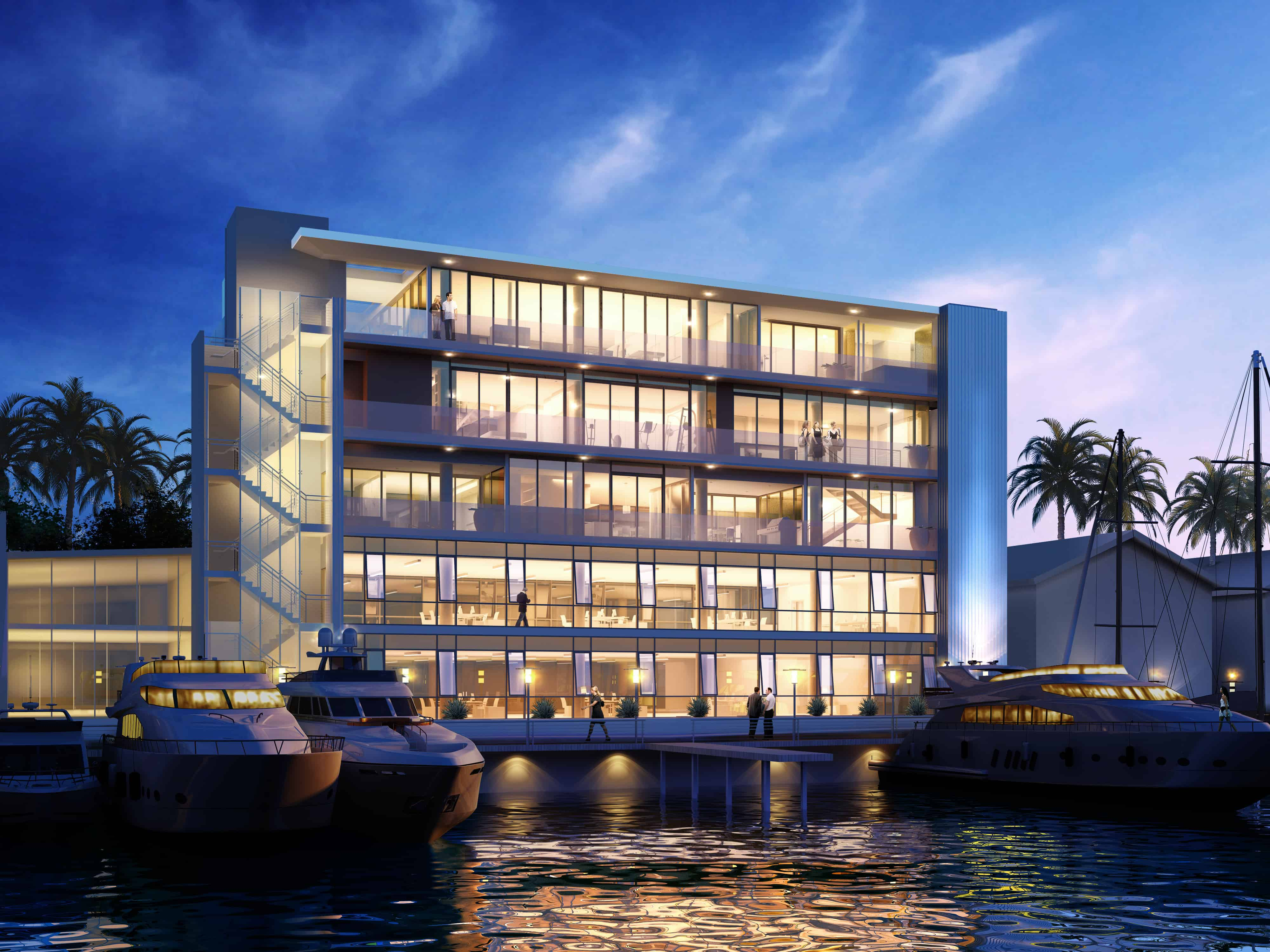 0934_3388 Via Lido_Harbor rendering dusk -final